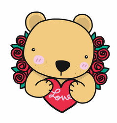 cute bear with love red heart and roses cartoon vector image