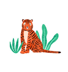 cute colorful wild tiger flat vector image