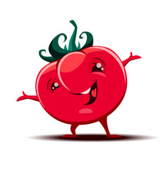 Cute little tomato mascot with funny expression vector