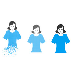 dissipated pixel halftone female icon with face vector image