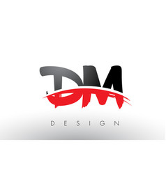 Dm d m brush logo letters with red and black vector