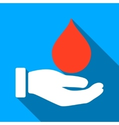 Donate Blood Flat Long Shadow Square Icon vector