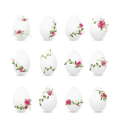 Easter eggs collection floral desogn vector image