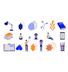 education process set with flat cartoon characters vector image