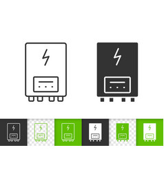Electric heater simple black line icon vector