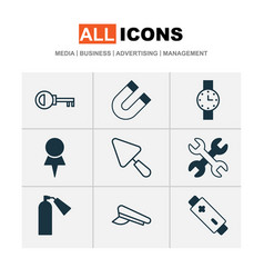 equipment icons set with pilot hat watch magnet vector image