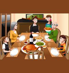 family having a thanksgiving dinner vector image