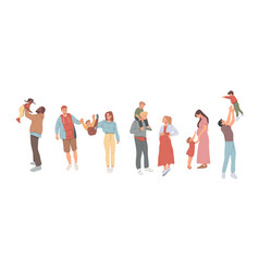 family walking together celebrations holidays and vector image