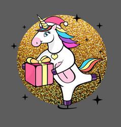fantasy skating unicorn with christmas present vector image