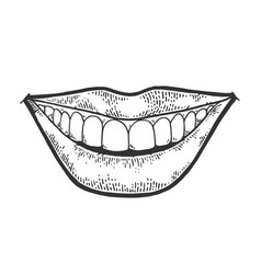 female smile mouth sketch engraving vector image
