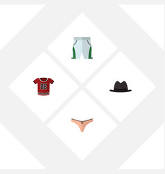 Flat clothes set of t-shirt trunks cloth panama vector