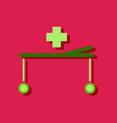 Flat icon design collection medical stretcher vector