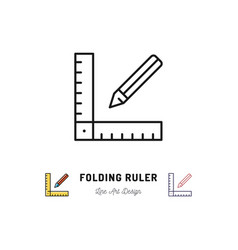 Folding ruler icon ruler and pencil thin line art vector