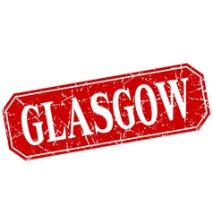 Glasgow red square grunge retro style sign vector