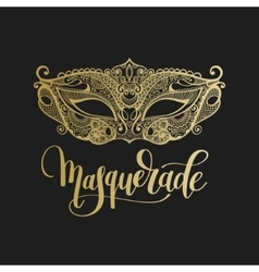 gold venetian carnival mask with hand lettering vector image