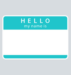 green name tag my name is vector image