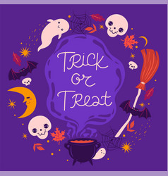 halloween frame with cute elements vector image
