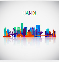 Hanoi skyline silhouette in colorful geometric vector