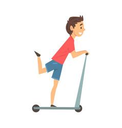 Happy boy riding kick scooter child having fun vector