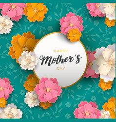 happy mothers day card paper spring flowers vector image
