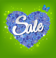 Heart from flowers sale poster vector