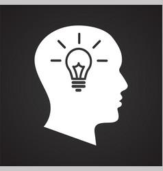 Human head with idea bulb icon on black background vector
