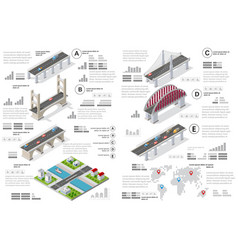 infographics of bridges in the field vector image