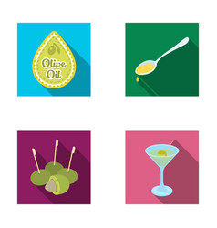 Label of olive oil spoon with a drop olives on vector