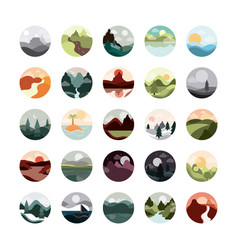 landscape nature mountains ocean and forest in vector image
