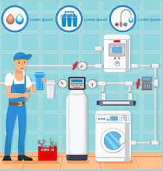 Laundry room repair plumber vector