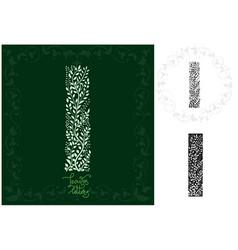 Leaves alphabet letter i vector