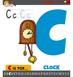 Letter c from alphabet with cartoon clock object vector