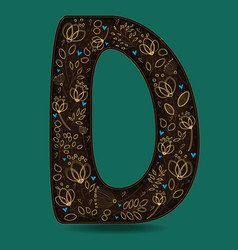 Letter d with golden floral decor vector