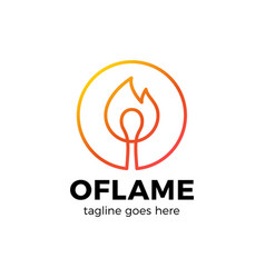 letter o logo with burn fire match in center vector image