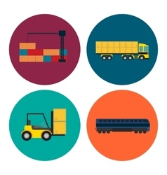 Logistics and transportation icon set vector image