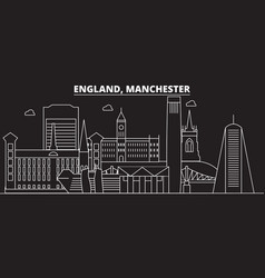 manchester silhouette skyline great britain vector image