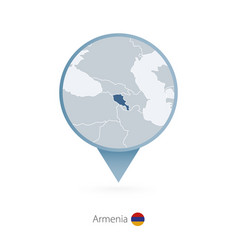 Map pin with detailed armenia vector