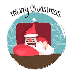 Merry christmas funny of sleepy santa vector image