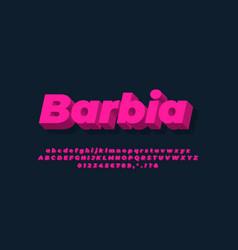 Modern alphabet 3d light pink bold text effect vector