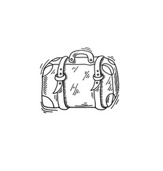 old travel case sketch drawing icon summer themed vector image