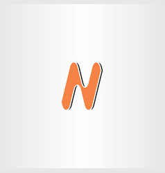 Orange n letter icon symbol vector