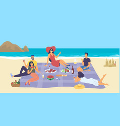people enjoying a summer picnic at seaside vector image