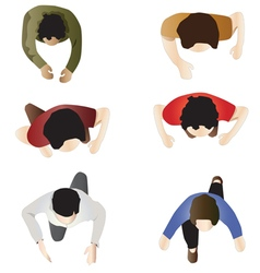 People standing top view set 2 vector