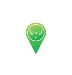 phoenix flying bird and eagle open wings logo vector image
