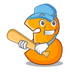 playing baseball character paper cut number three vector image