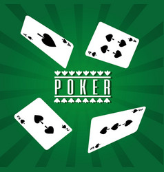 Poker playing cards spade four gamble lucky vector