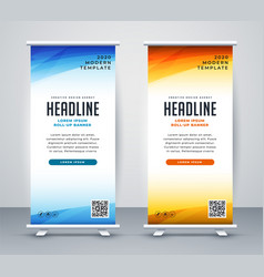 Professional roll up stand banner template design vector
