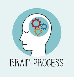 Profile human head brain process vector