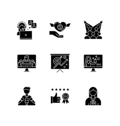 Promotion black glyph icons set on white space vector
