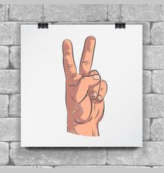 realistic sketch hands - gestures raised hand vector image vector image